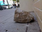A rock used to try to break windows at the Verizon store... (Shmuel Thaler/Santa Cruz Sentinel)