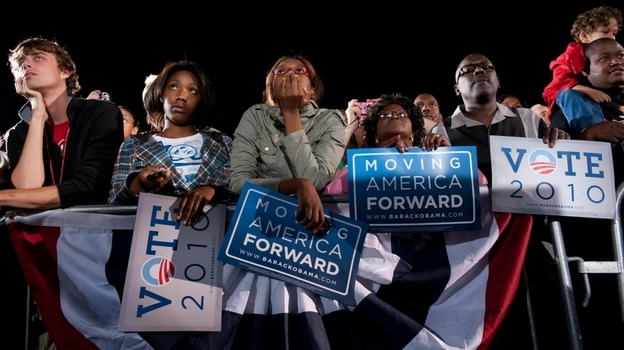 Supporters listen as President Obama speaks during a rally for the Democratic National Committee at Ohio State University in Columbus Sunday night