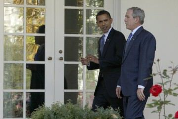 President Bush walks with President-elect Obama along the West Wing Colonnade at the White House in Washington, Monday, Nov. 10, 2008, to the Oval Office for a private meeting.  Photo by/AP Photo